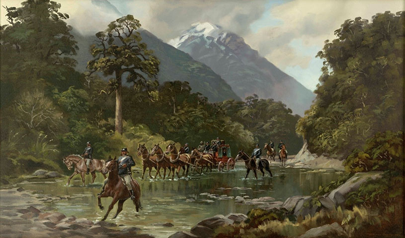 Canterbury Provincial Police Gold Escort through the Southern Alps, 1865. Ernest Papps: New Zealand Police Museum Collection (2017/1060/1)