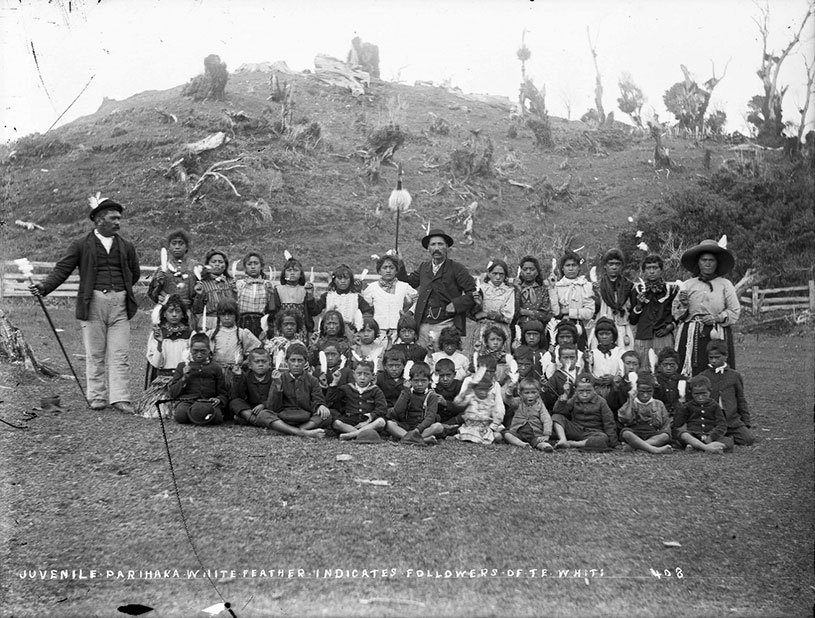 Taare Waitara with children from Parihaka Pā, 1881. Alexander Turnbull Library (1/1-006430-G)