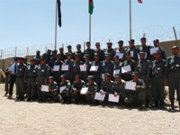 Graduation parade for Basic 8 recruits at Bamyan Regional Training Centre, where New Zealand Police members mentored the Commandant and instructors.