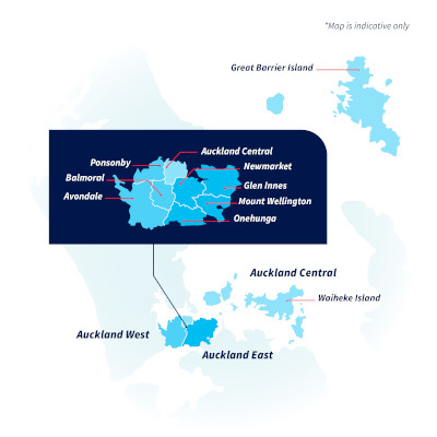 View larger map of Auckland City police district in pop up box.