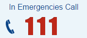 For emergencies call 111