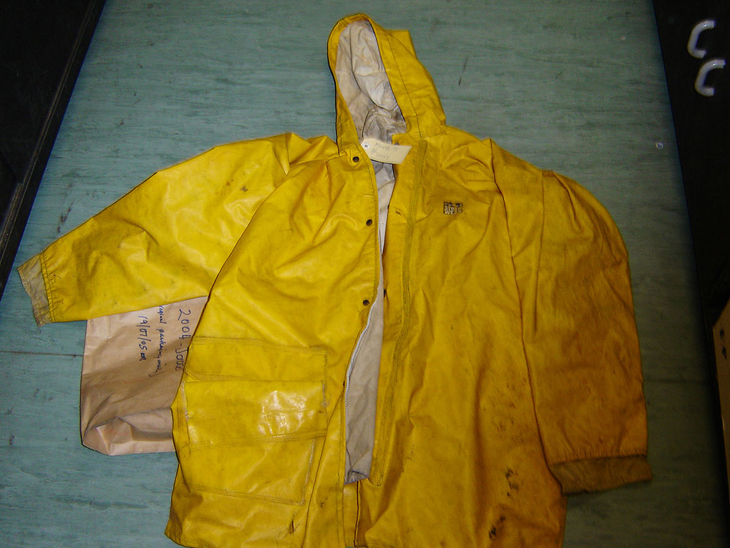 Katrina was wrapped in this yellow raincoat.