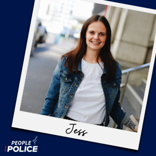 People of Police logo and photo of Jess smiling at camera, both on dark blue background