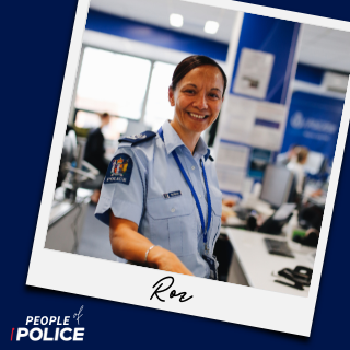 People of Police logo and photo of Roz smiling at camera, both on dark blue background