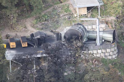 images show the vent area after the explosion on Friday 26 November.