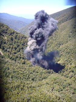 An image of the vent shaft after the 4th explosion at Pike River.