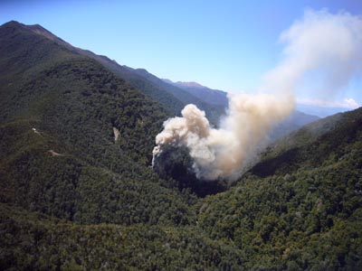An image of the vent shaft after the 4th explosion at Pike River