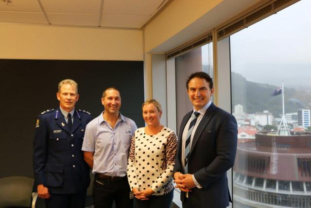 Karley Hunt, with her husband Cameron, Assistant Commissioner Bill Searle and Police Minister Stuart Nash