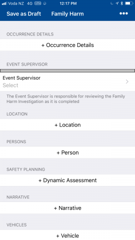 Screenshot of the Police Family Harm app