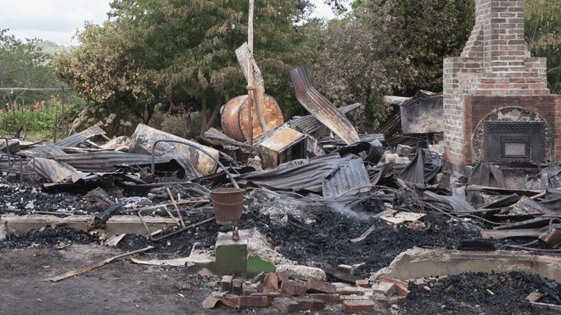 The farmhouse at 290 Whatatutu Road, destroyed by fire on 25 January 2013.