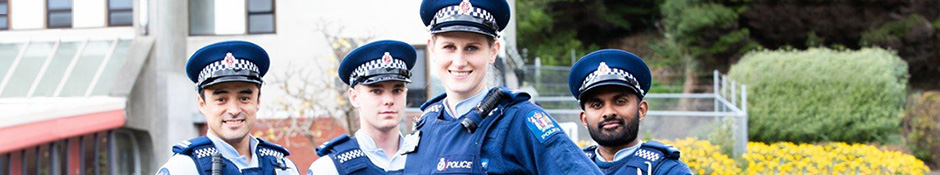 four NZ police cops in uniform