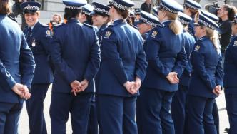 Staff members at Parliament after national parade marking 75 years of women in policing. Photo: Senior Constable Fiona Foxall