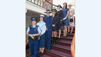Police staff model historic and present-day women's uniforms. Photo: Sergeant Nick Plant