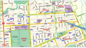 Map showing bicycle thefts in Invercargill