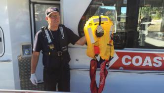 David from the Coastguard with the lifejacket