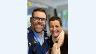 Senior Constable Craig Newman and Carol Davison.