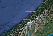 Overview map showing Greymouth and the area south of Ross where David's body was found.