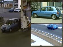A blue Nissan March car of interest