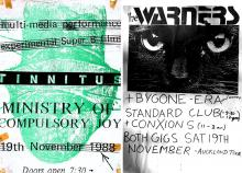 Posters for Tinnitus and Warners gigs