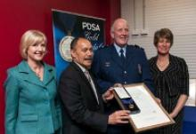 From left to right, Lady Janine Mateparae, His Excellency, Lieutenant General The Right Honourable Sir Jerry Mateparae, Senior Constable Bruce Lamb, and Mrs Jill Lamb with the PDSA Gold Medal