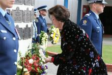 Police Minister Hon Anne Tolley laying wreath.