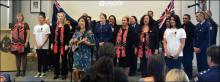 Tina, the police choir and Blue Light singers perform during the video launch.