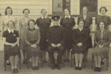 The first intake of women pictured with their instructor at the training depot in Newtown, Wellington, in June 1941. Photo: NZ