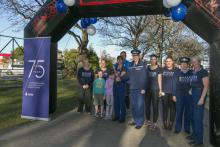Canterbury staff at relay finish line
