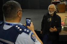 Inspector Hirone Waretini records George Henare's message.