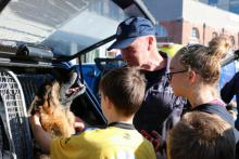 Police dog Ike meets his public.