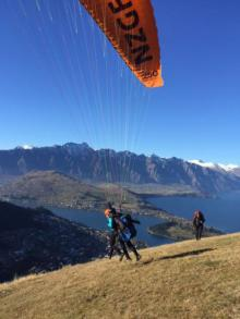 South: By paraglider over Queenstown.