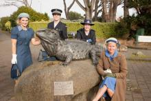 South: Invercargill's tuatara sculpture was one stop for the southern torch and appropriately dressed relayers.