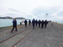 Police staff at Tolaga Bay Wharf