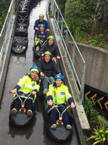North: Going by luge in Rotorua.