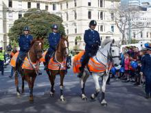 Our horse riders arrive in Parliament Grounds.