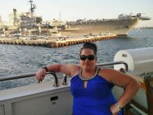 Jess Hamill enjoys a harbour cruise in San Diego en route to Rio.
