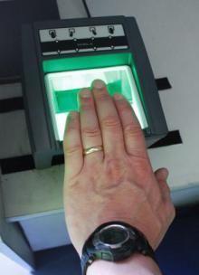 The fingerprint scanner in action