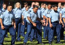 Members of Wing 320 perform the haka at their attestation on Tuesday