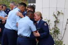 Wing 321 hongi General Manager Training Insp Scott Fraser and Acting General Manager Training Insp Sarah Stewart