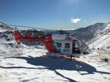 Weather conditions had improved dramatically as the rescue helicopter landed today.