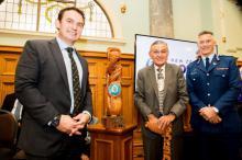 Police Minister Stuart Nash, King Tūheitia Paki and Commissioner Mike Bush with Te Pae Oranga pou.