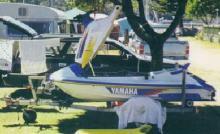 1996 yamaha waveraider pwc white and blu