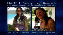 Case 1: Missing - Bridget Simmonds, Northland