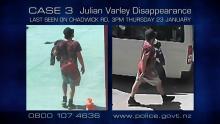Julian Varley in t-shirt, shorts wearing black hat walking