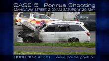 Burnt car on Mahinawa Street, Porirua