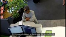 Sao Young CCTV image with grey cap and sunglasses on it.