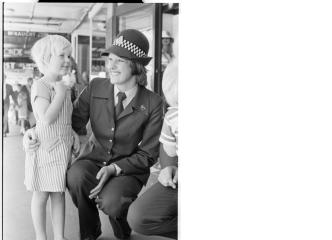 Police Constable Vickie Gaudie wearing the new policewomen's uniform with trousers