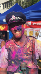 Constable Rob Stanton at HummFM Holi celebration, Auckland