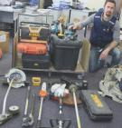 Sgt Nick Rolley with some of the recovered tools seeking a home