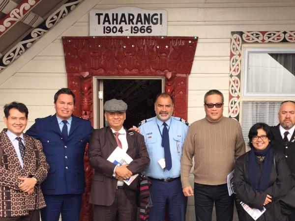 Indonesian delegation at marae.